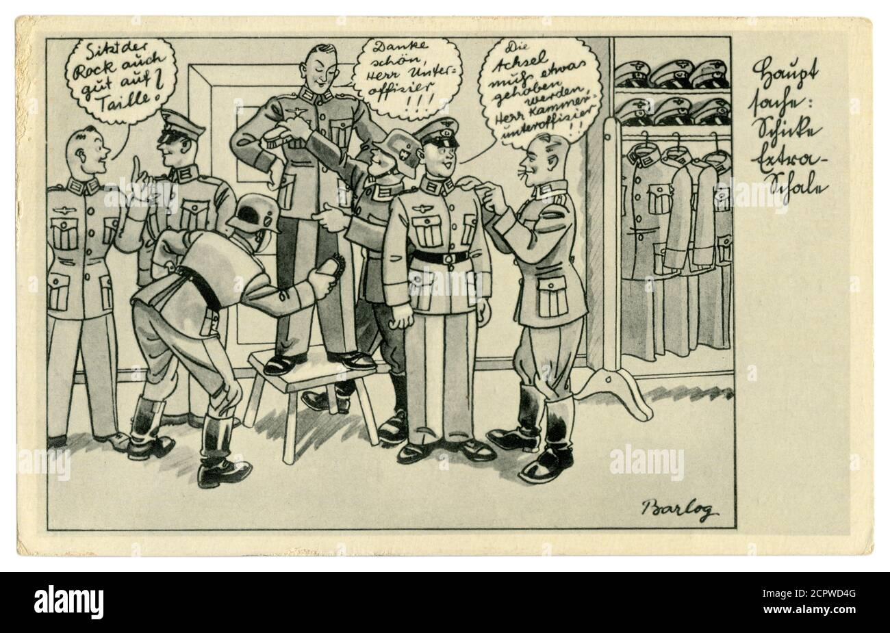 Carte postale historique allemande : un unteroffizien met un soldat dans un nouvel uniforme militaire. Brush the recy, série satirique, par Barlog, Allemagne, 1939 Banque D'Images