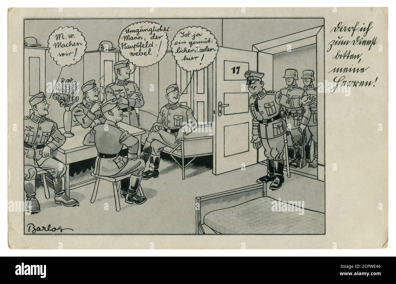 Carte postale historique allemande : les soldats fument dans les casernes. Inconduite. Le sergent demande à aller avec lui, série satirique, par Barlog, Allemagne, 1939 Banque D'Images