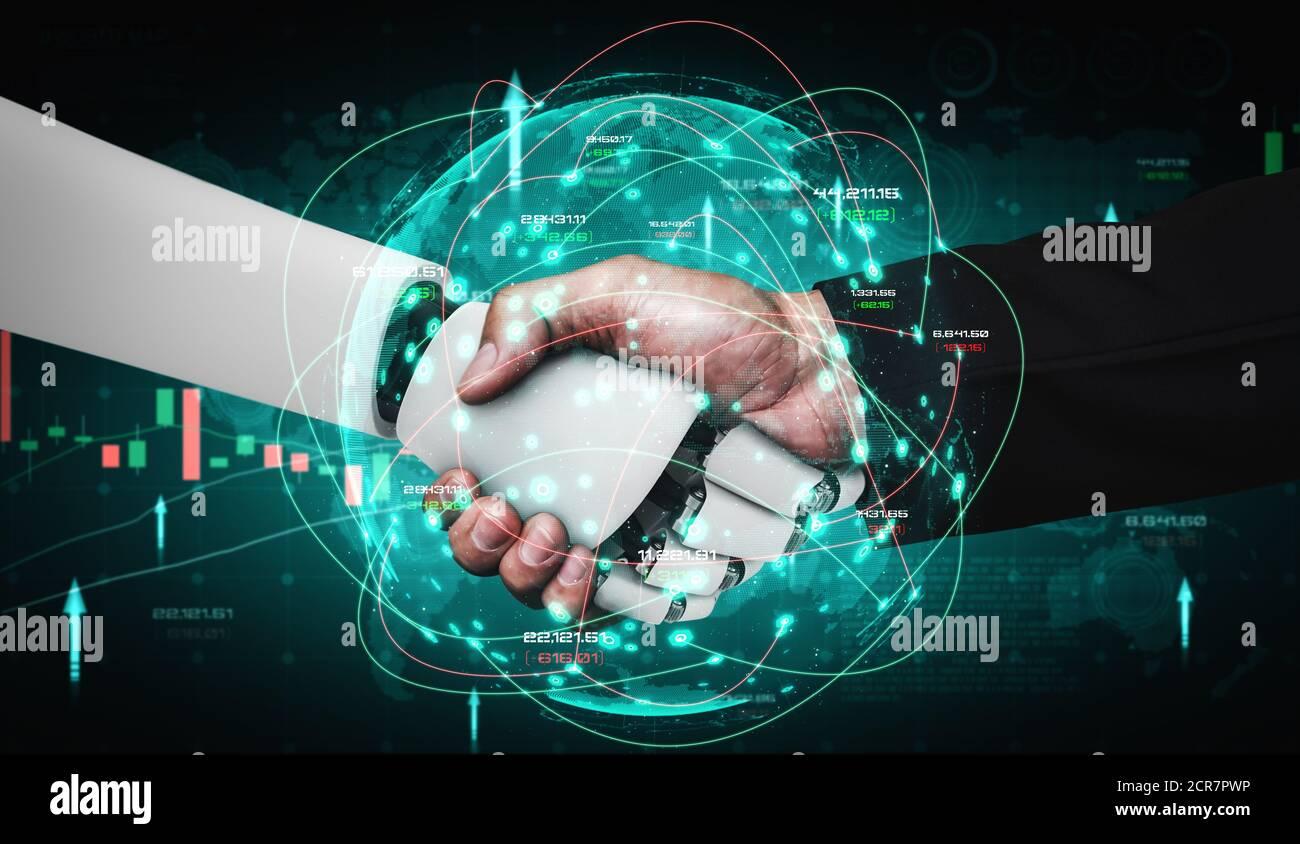 Future technologie financière contrôlée par robot ai à l'aide de l'apprentissage machine et l'intelligence artificielle pour analyser les données métiers et donner des conseils activé Banque D'Images