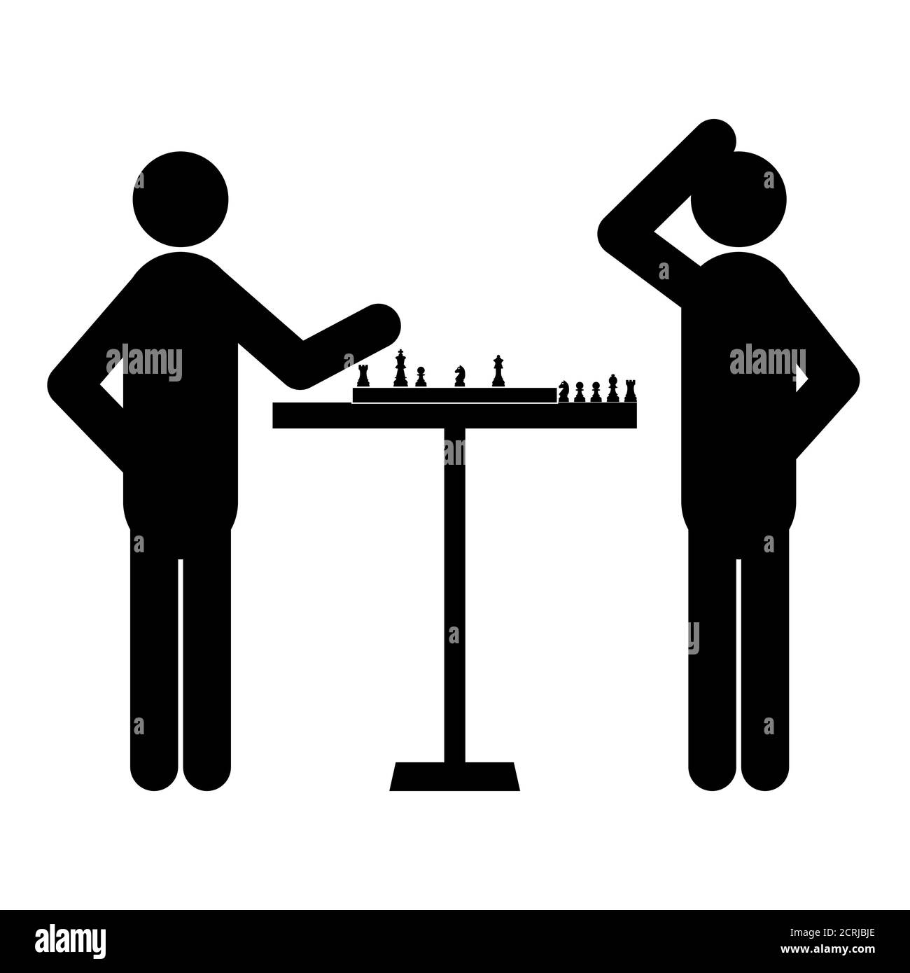 Jeu de figurines, silhouettes noir sur fond blanc. Jouer aux échecs, illustration vectorielle. Illustration de Vecteur