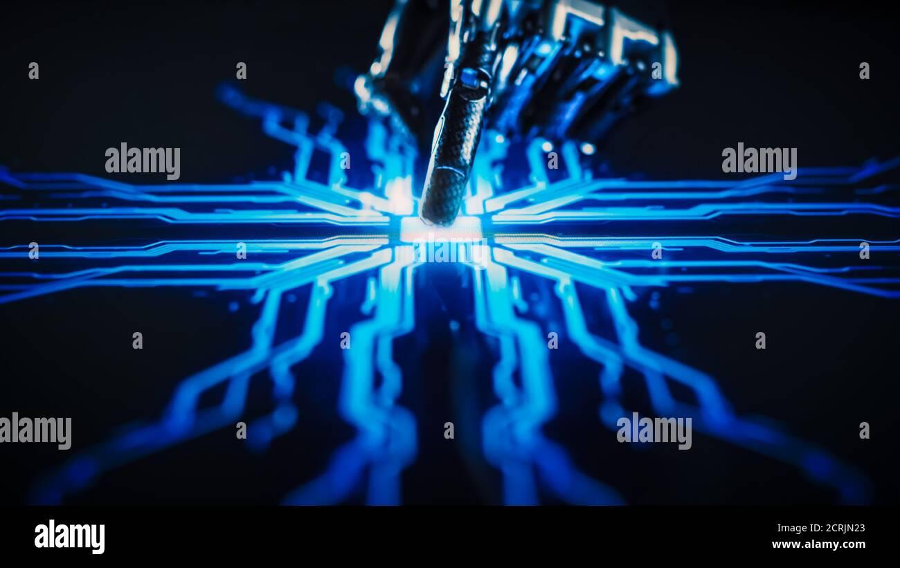 Concept de numérisation : bras robot futuriste en interaction avec l'écran, le doigt touche l'écran et active l'intelligence artificielle. Visualisation de Banque D'Images