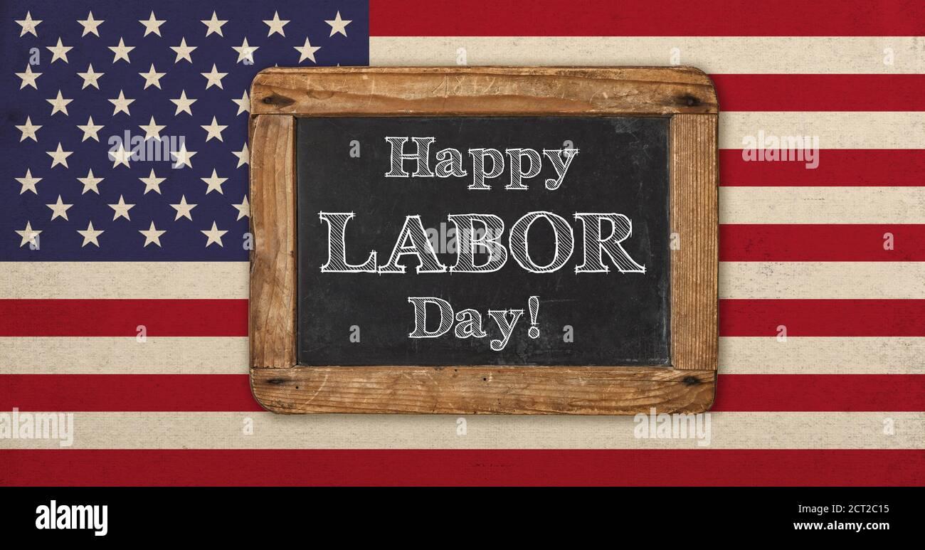 Bonne journée du travail ! Ancien drapeau américain vintage et tableau noir pour le texte Banque D'Images