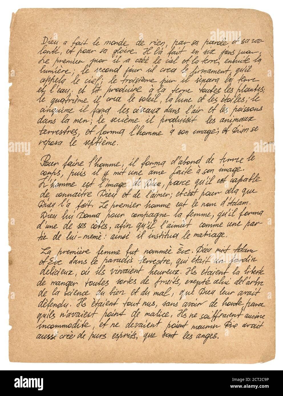 Arrière-plan de texture de papier ancien avec texte manuscrit. Écriture manuscrite. Calligraphie. Lettre Banque D'Images