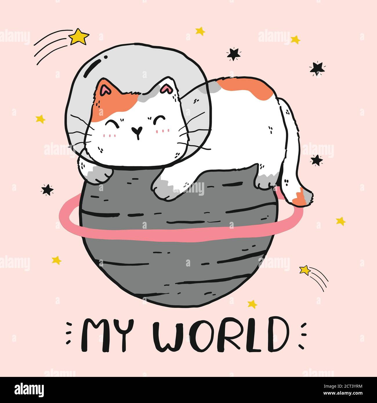 mignon gros chat assis sur le monde, le monde de chat, mon monde, drôle chat clip art pour l'autocollant, sublimation, carte de voeux, autocollant, imprimable numérique Illustration de Vecteur