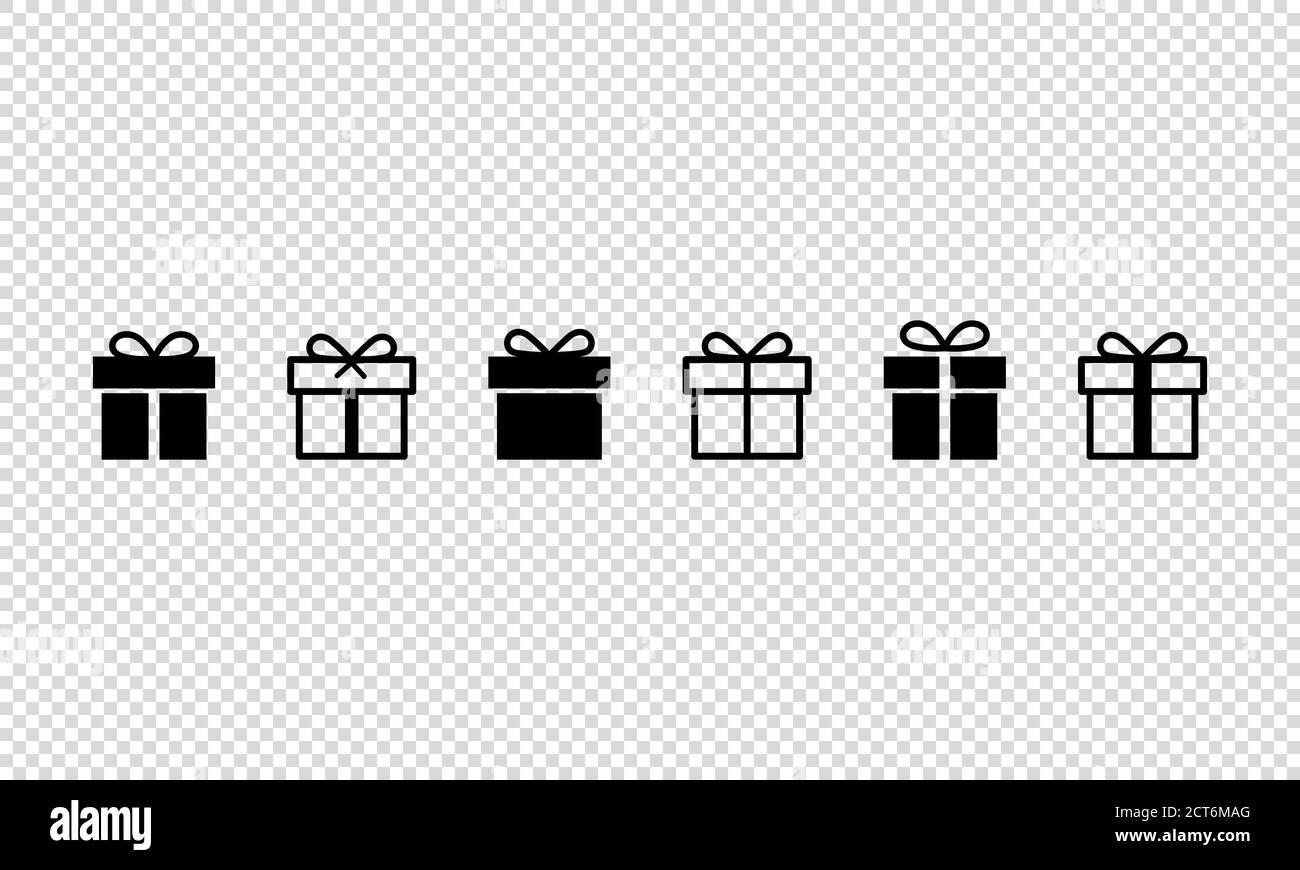Ensemble d'icônes de boîte cadeau. Nouvel an, Noël. Concept anniversaire. Cadeau surprise. Arrière-plan transparent isolé. SPE 10. Illustration de Vecteur