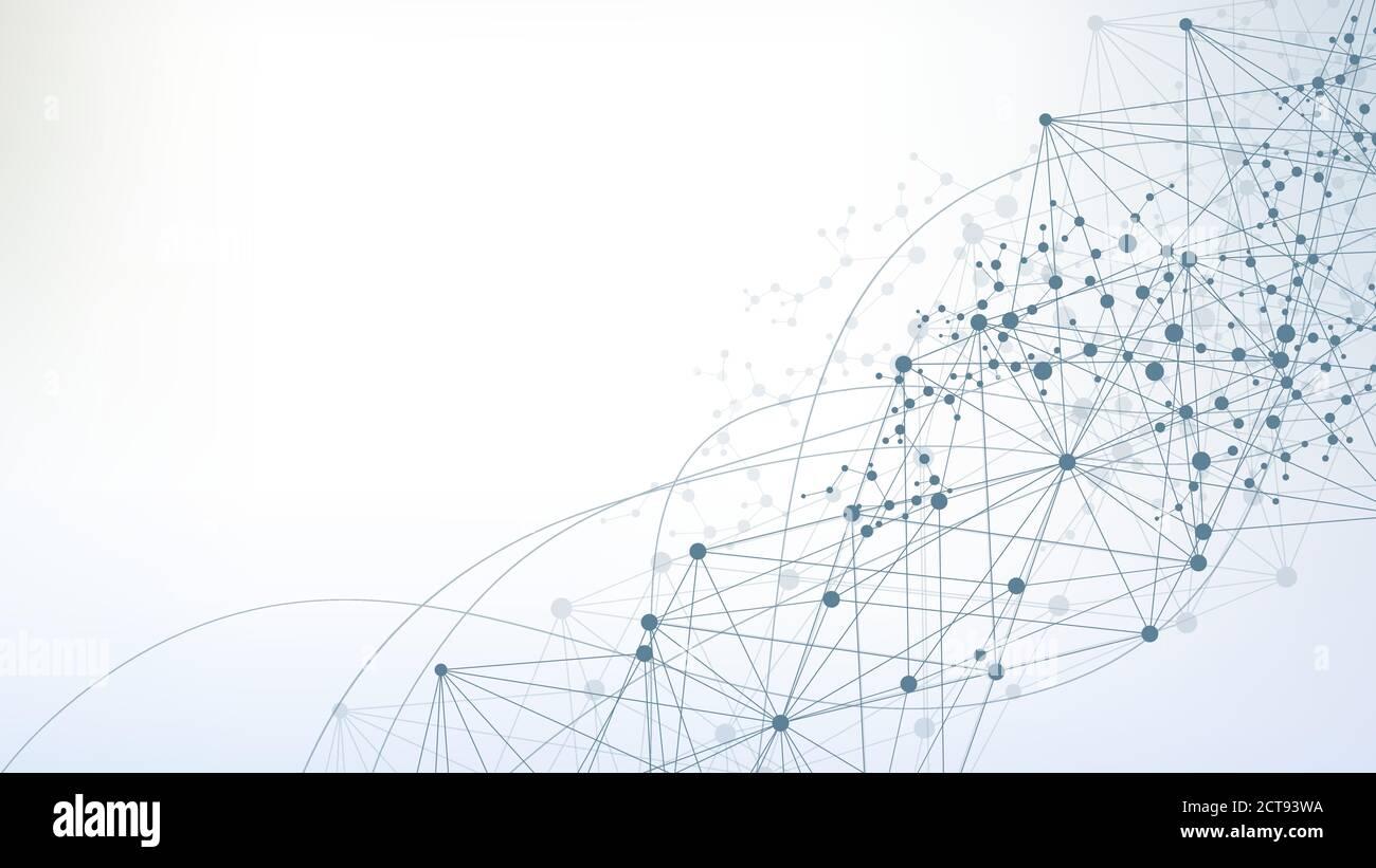 Fond abstrait géométrique et de la ligne connectée avec des points. Molécule de structure et de communication. Big La visualisation de données. La science médicale, de la technologie, Illustration de Vecteur