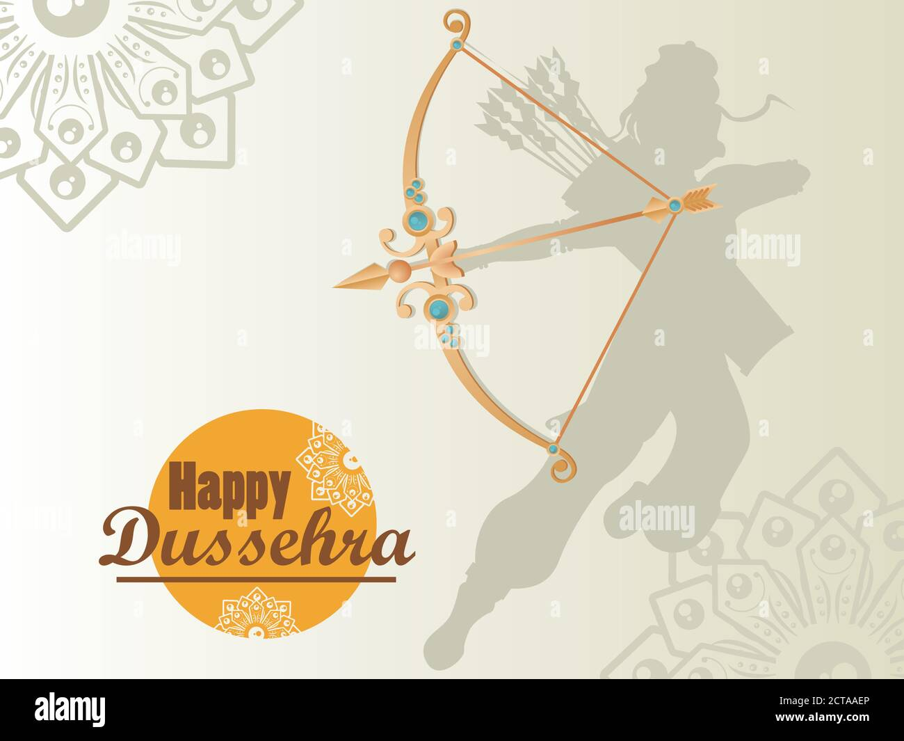 carte de célébration dussehra avec ombre et or de god rama motif d'illustration vectoriel arch Illustration de Vecteur