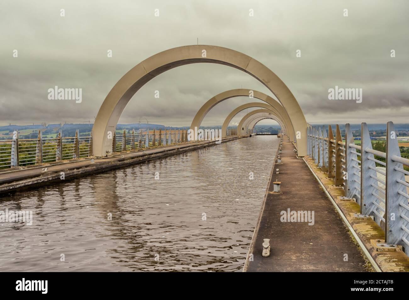 20.09.2020 Falkirk, Écosse, Royaume-Uni. La roue de Falkirk est un pont tournant dans le centre de l'Écosse, reliant le Forth et le canal de Clyde avec l'Union C. Banque D'Images