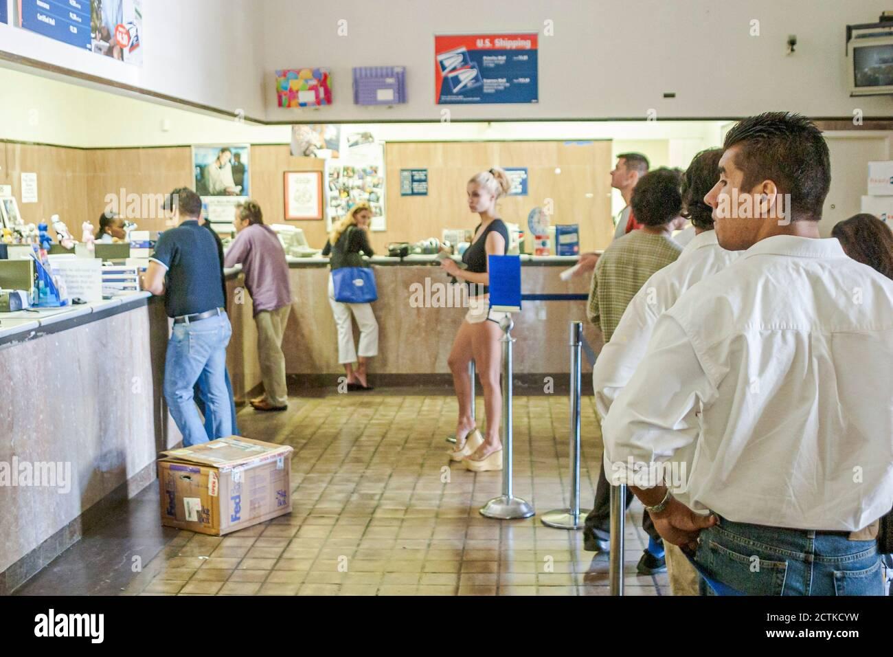 Floride, Floride, Sud, Miami Beach, SoBe, quartier art déco, « Washington Avenue », bureau de poste américain, courrier, livraison, colis, timbres, service postal, courrier, Banque D'Images