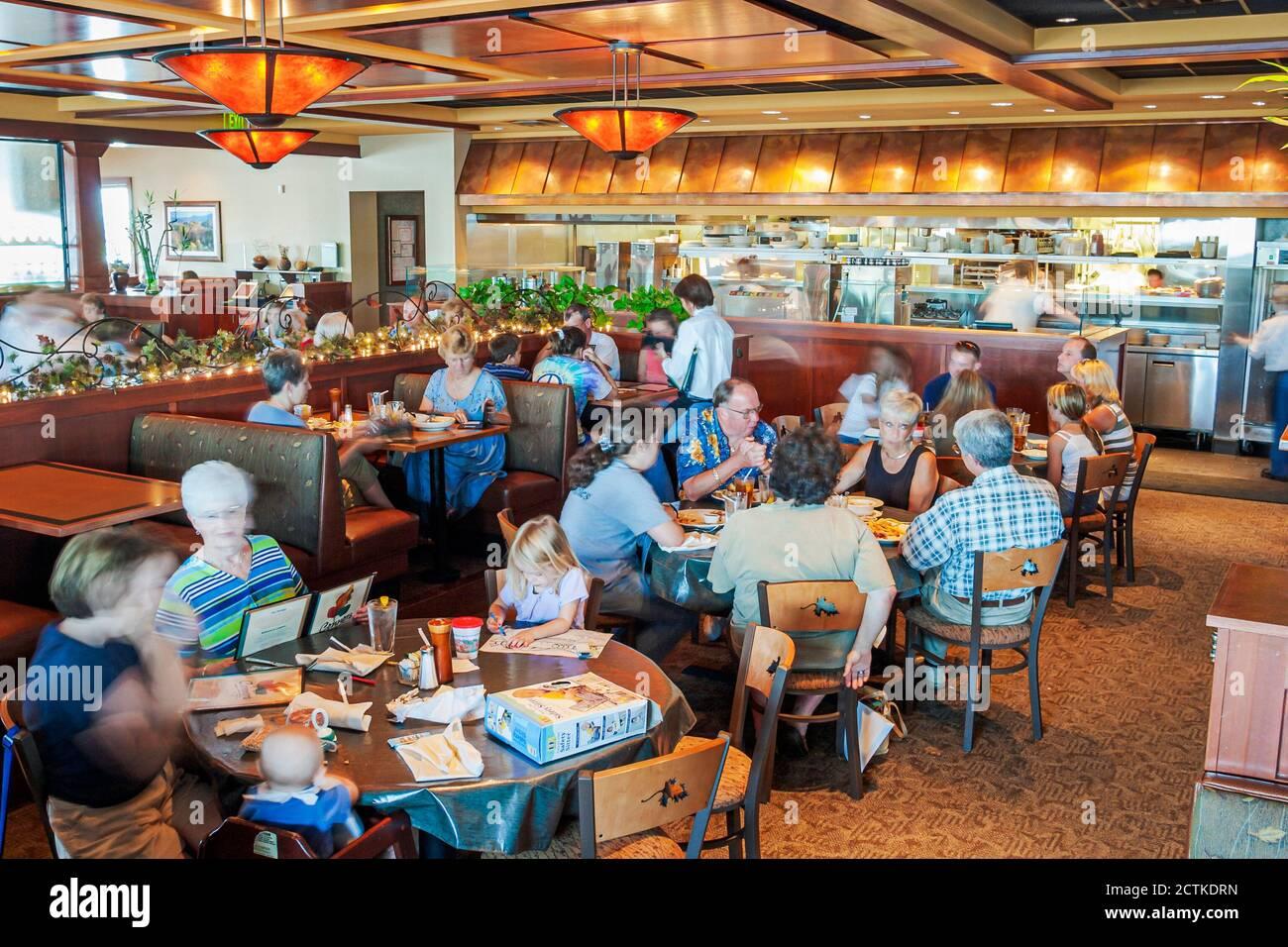 Tennessee Sevierville Conner's Restaurant, dîner dans une ambiance décontractée intérieur familles tables, Américains, Banque D'Images