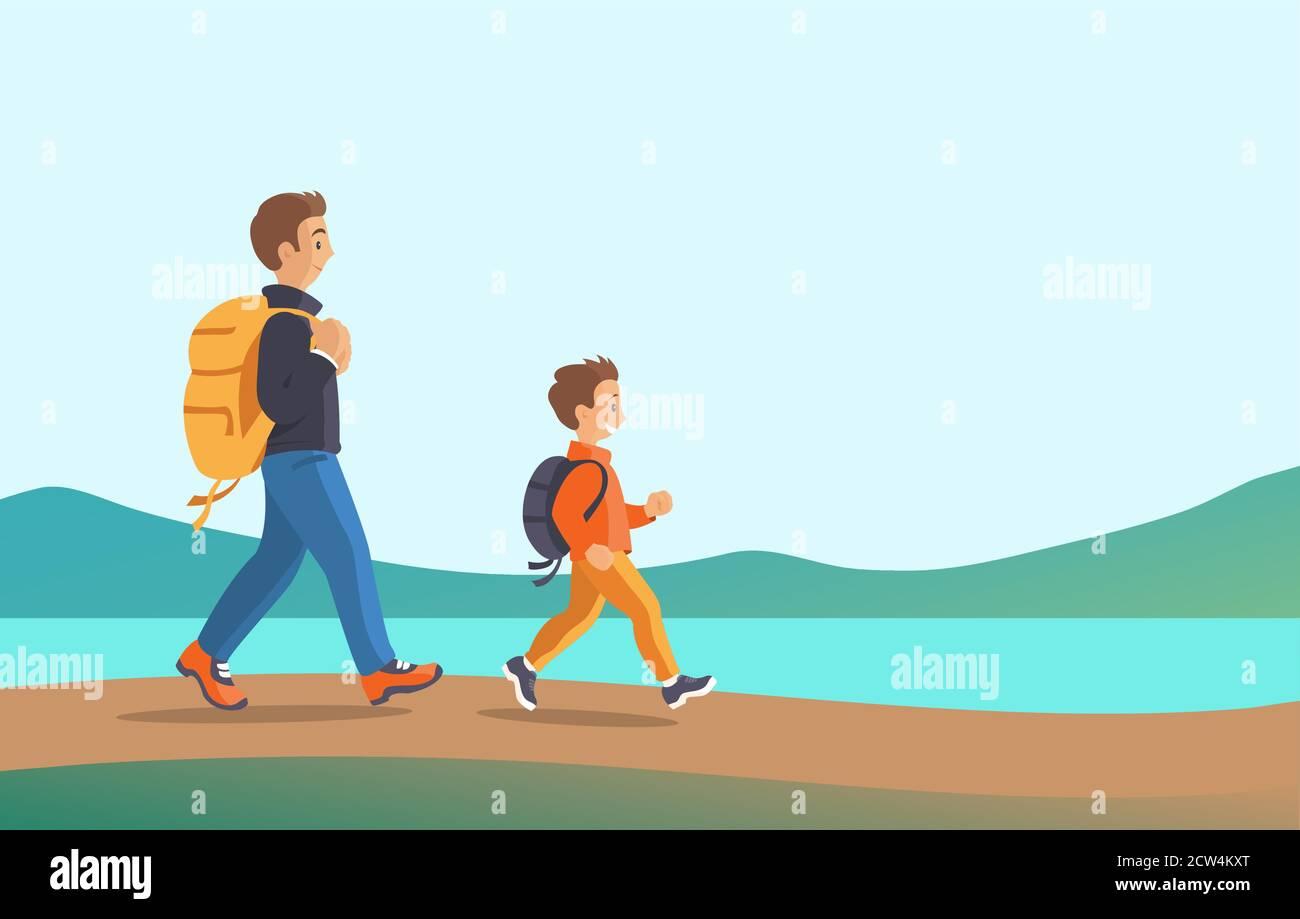 Père et fils voyagent dans la nature. Illustration de Vecteur