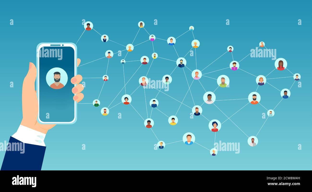 Vecteur d'une femme tenant un smartphone connecté à un grand groupe de personnes d'interconnexion Illustration de Vecteur