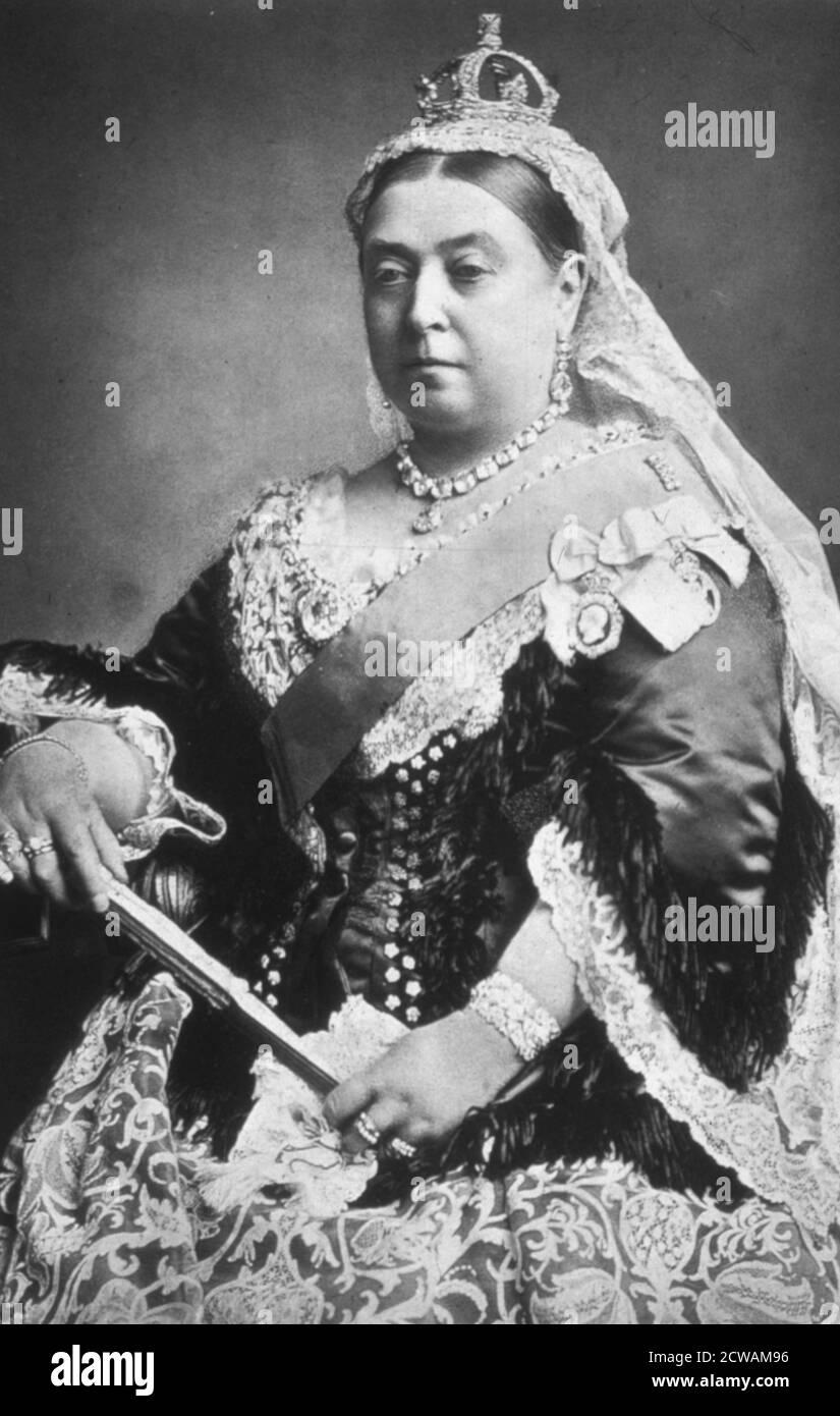 la reine victoria du royaume-uni avec la couronne de diamant dans l'année de son jubilé d'or, 1887 Banque D'Images