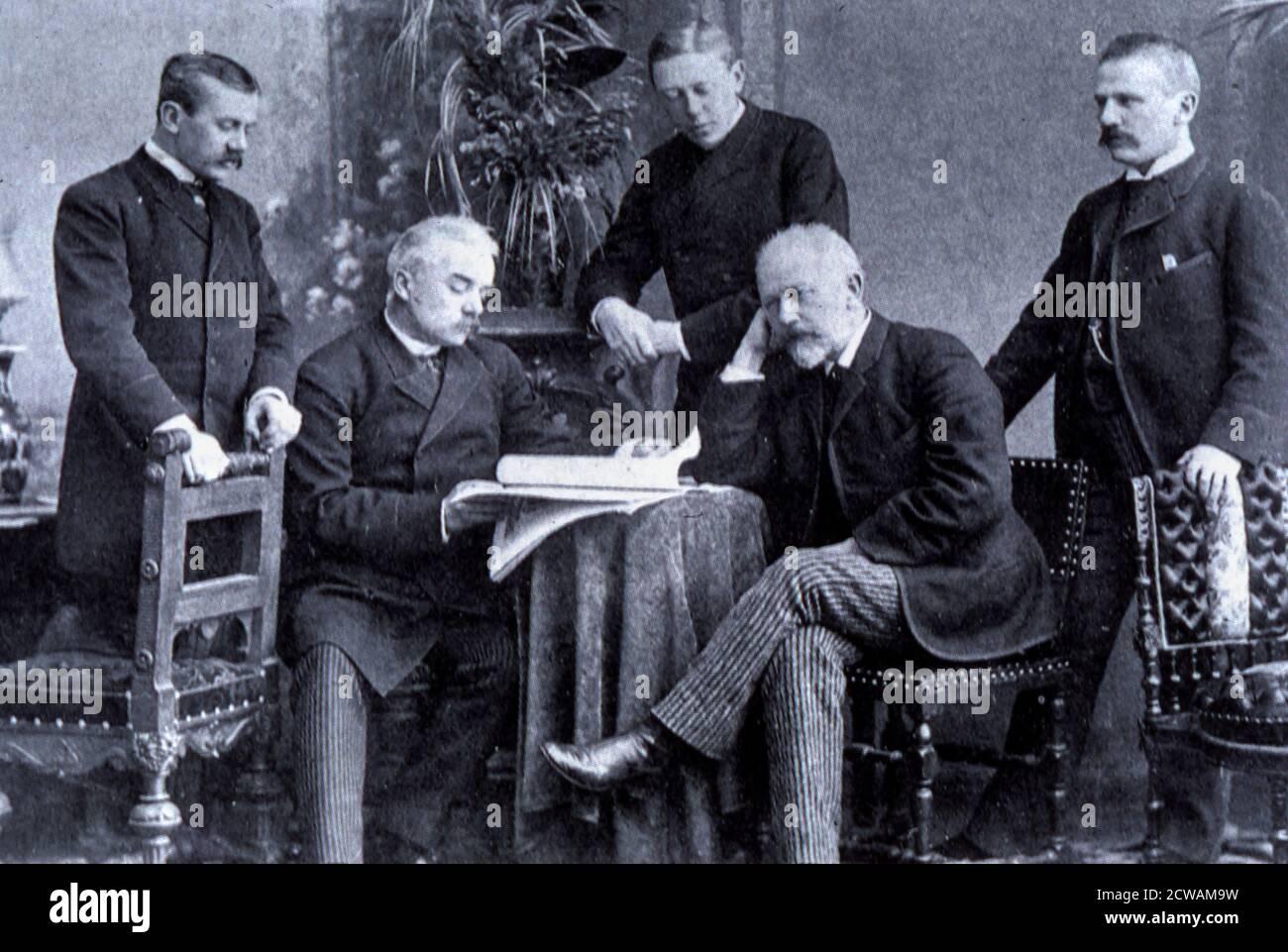 pyotr ilyich tchaikovsky avec ses frères, 1890 Banque D'Images