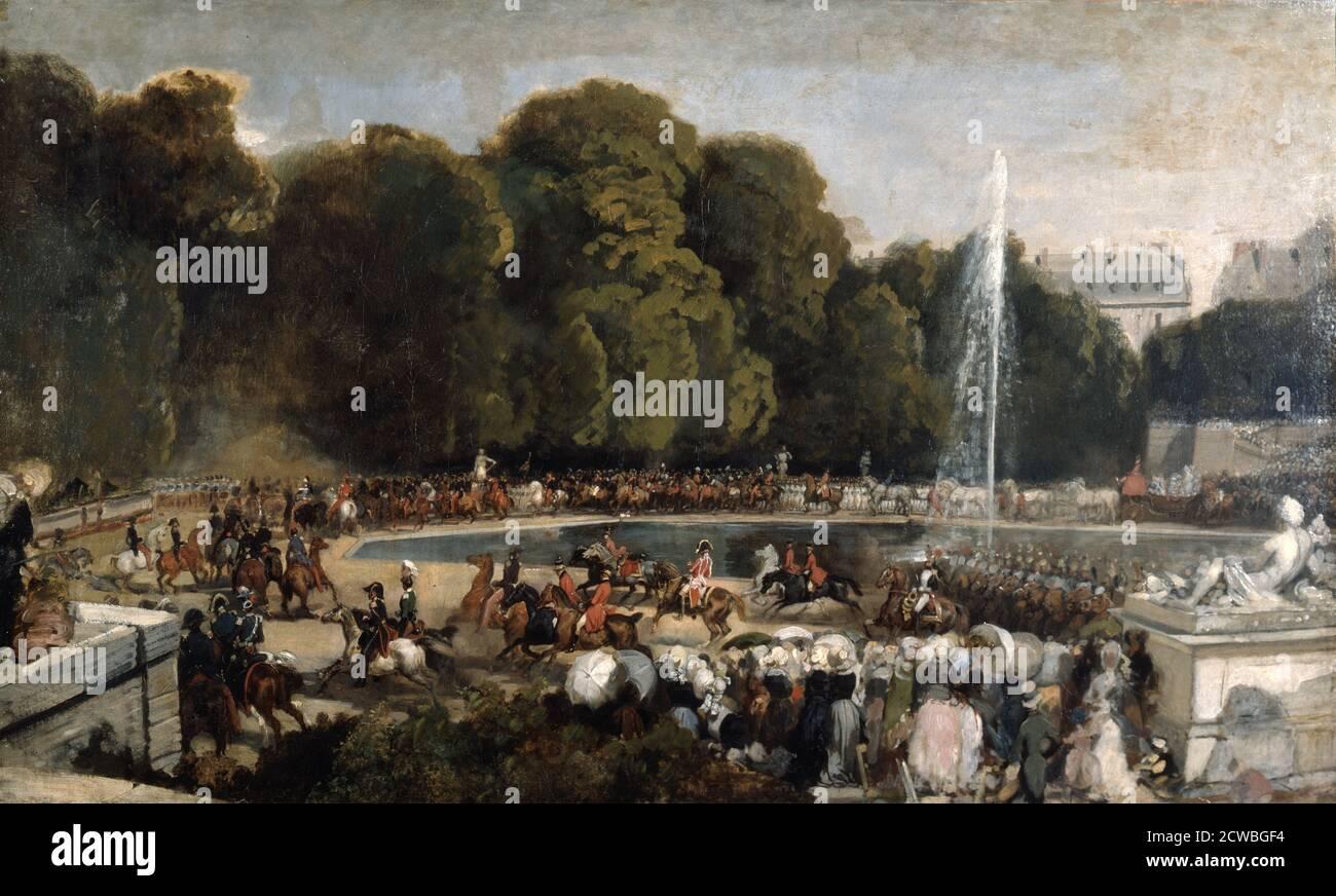Entrée de la duchesse d'Orléans dans le jardin des Tuileries, par Eugene Louis Lami, 1841. L'artiste évoque un festival le 4 juin 1837 en l'honneur d'Hélène de Mecklembourg, qui vient de épouser le duc d'Orléans. De la collection du Louvre, Paris, France. Banque D'Images