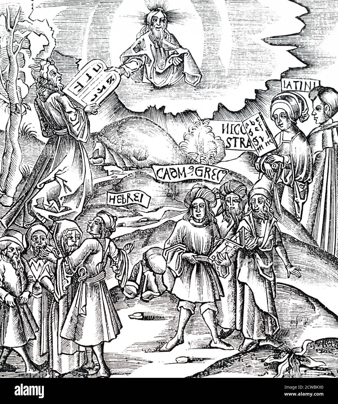 Gravure sur bois représentant Moïse recevant les tablettes de pierre en hébreu. Banque D'Images