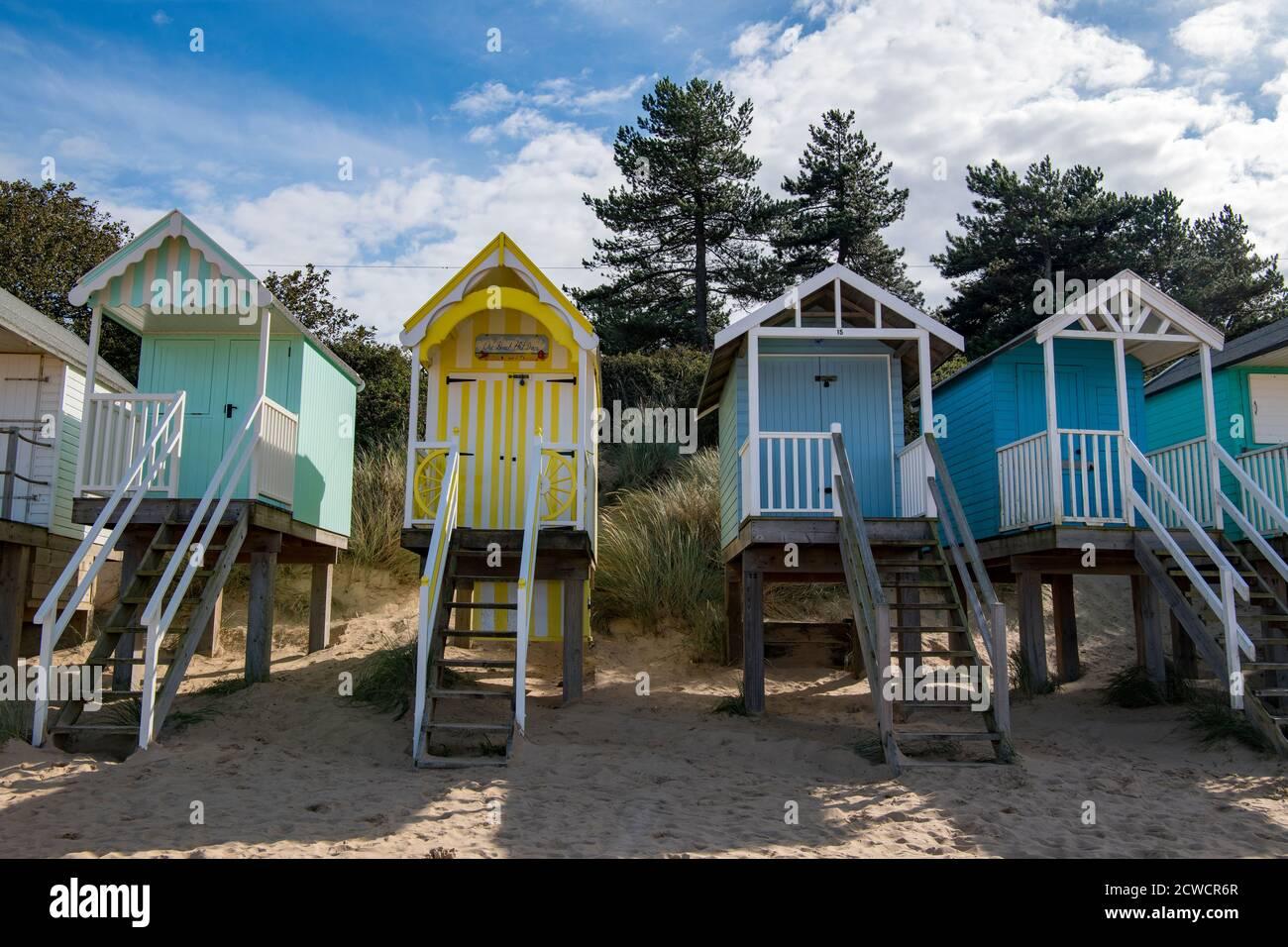Beach Huts Wells à côté de la mer nord Norfolk Angleterre Banque D'Images