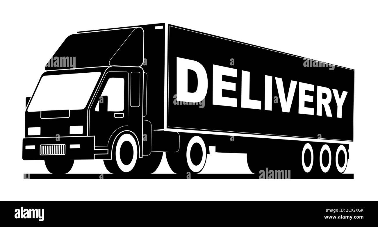 Camion avec logo Vector, livraison rapide des marchandises. Logo, emblème, bannière du centre logistique, livraison, chargement, poids lourd. Couleur noir et blanc, monochr Illustration de Vecteur