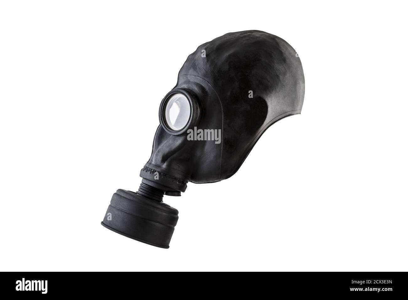 Masque à gaz noir isolé sur fond blanc avec masque de découpe. Pollution de l'environnement Banque D'Images