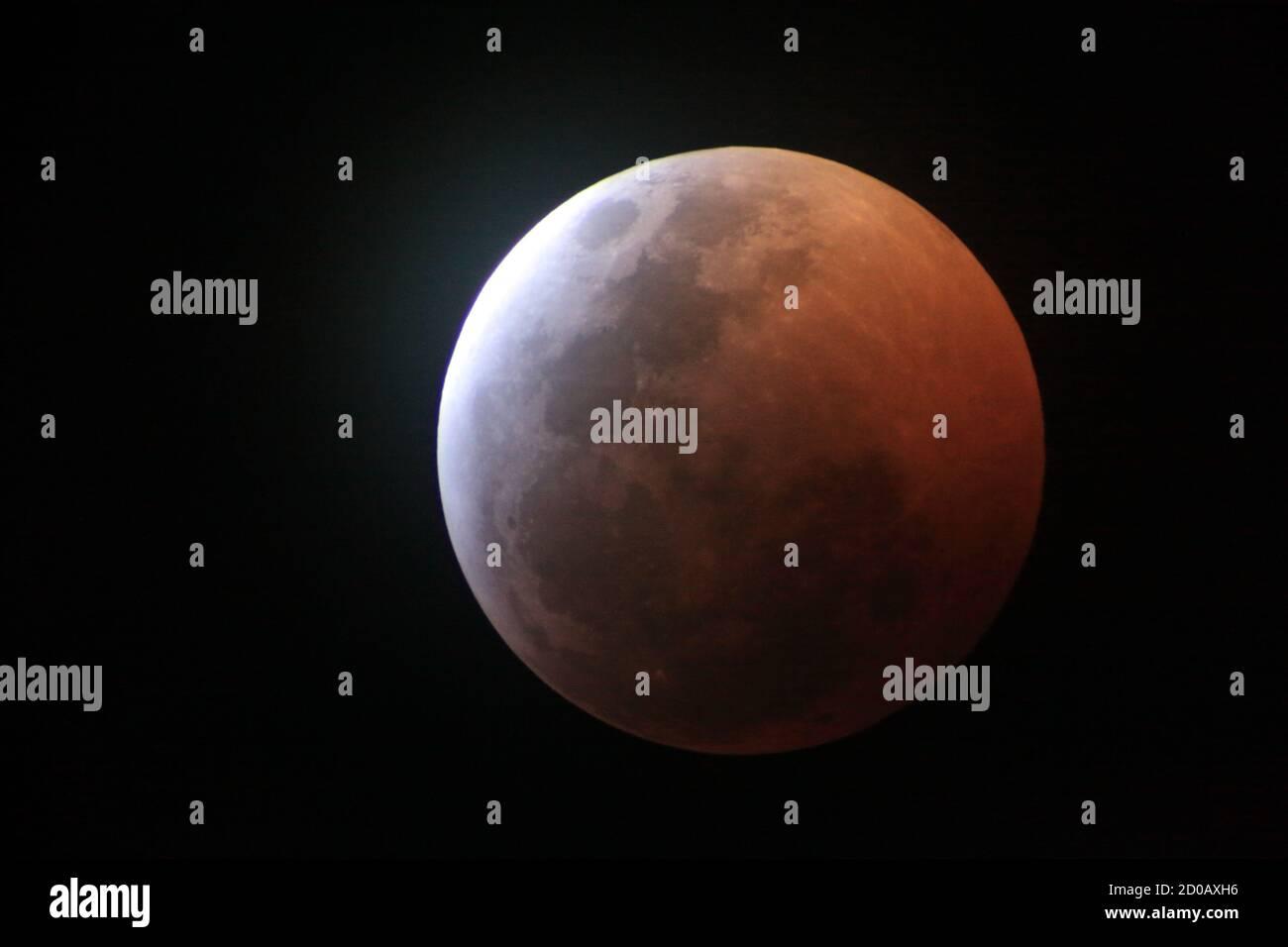 Phases de l'éclipse de lune Banque D'Images