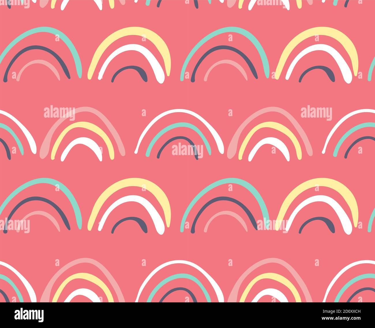 Boucles d'arc-en-ciel Doodle sur fond rose, motifs sans couture Illustration de Vecteur