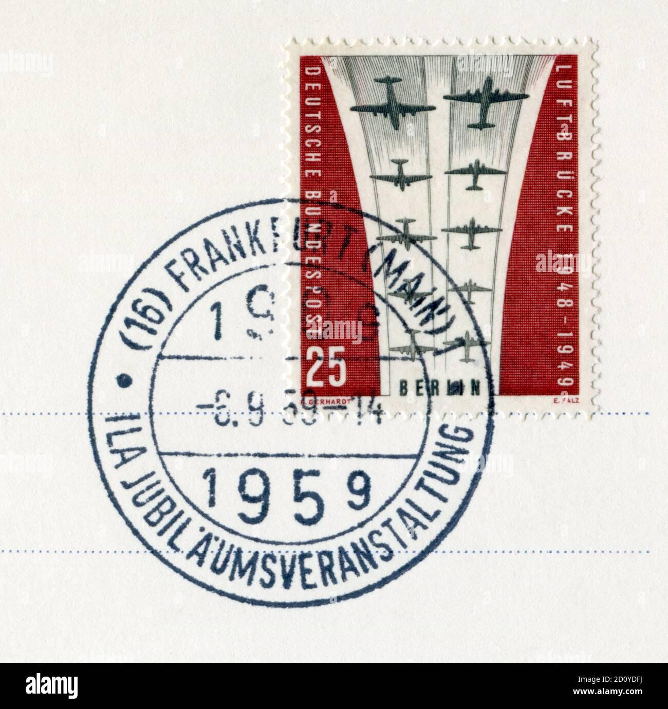 Timbre historique: 10 ans de Berlin Airlift pour débloquer le blocus de la ville par l'Union soviétique et les pays du Pacte de Varsovie, 1959 Banque D'Images