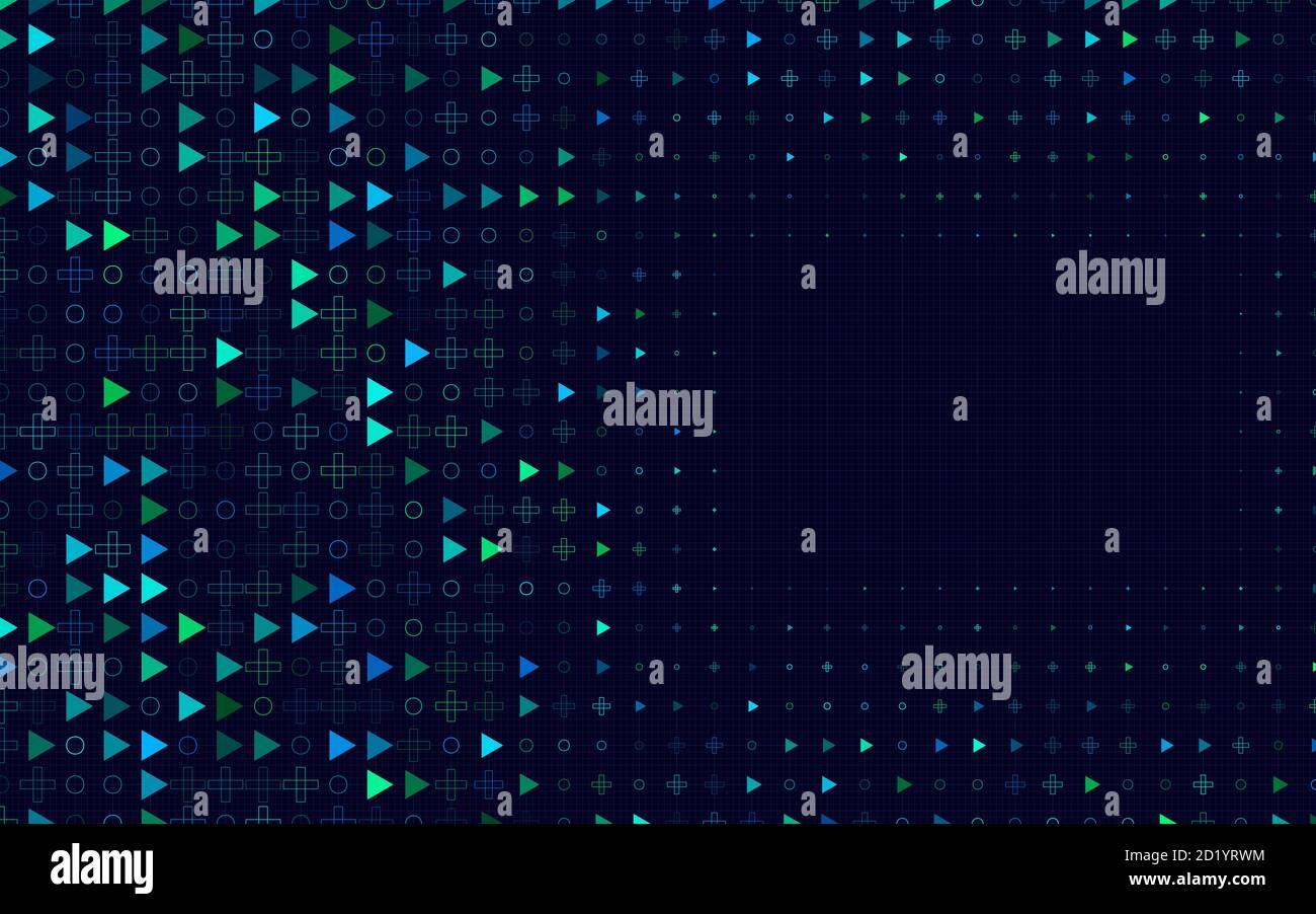 Arrière-plan abstrait de carrés, de cercles et de lignes Banque D'Images