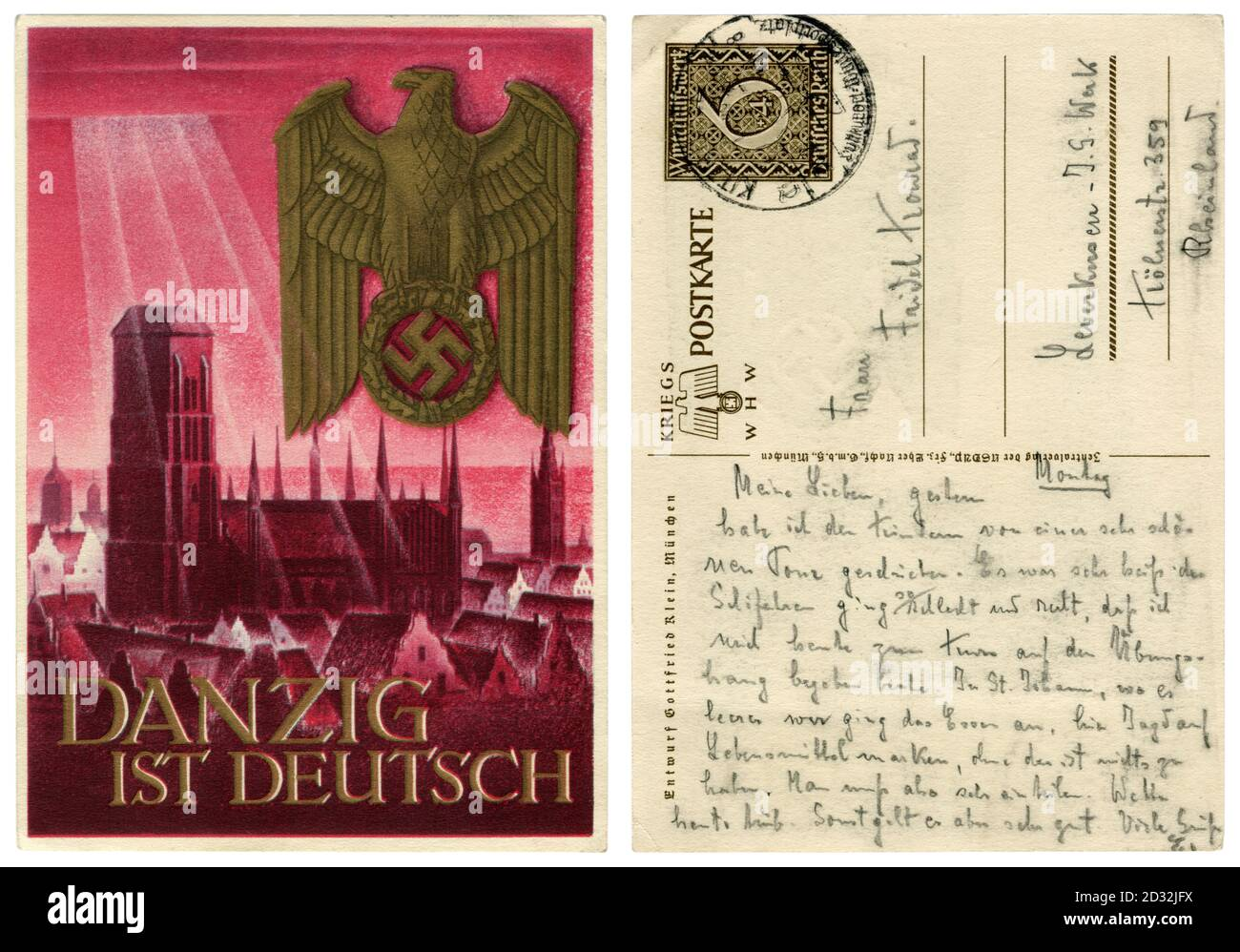 Carte postale historique allemande: WHW, série 'annexion de Danzig aux territoires du 3ème Reich', Eglise Sainte Marie, Allemagne, Pologne occupée,1939 Banque D'Images