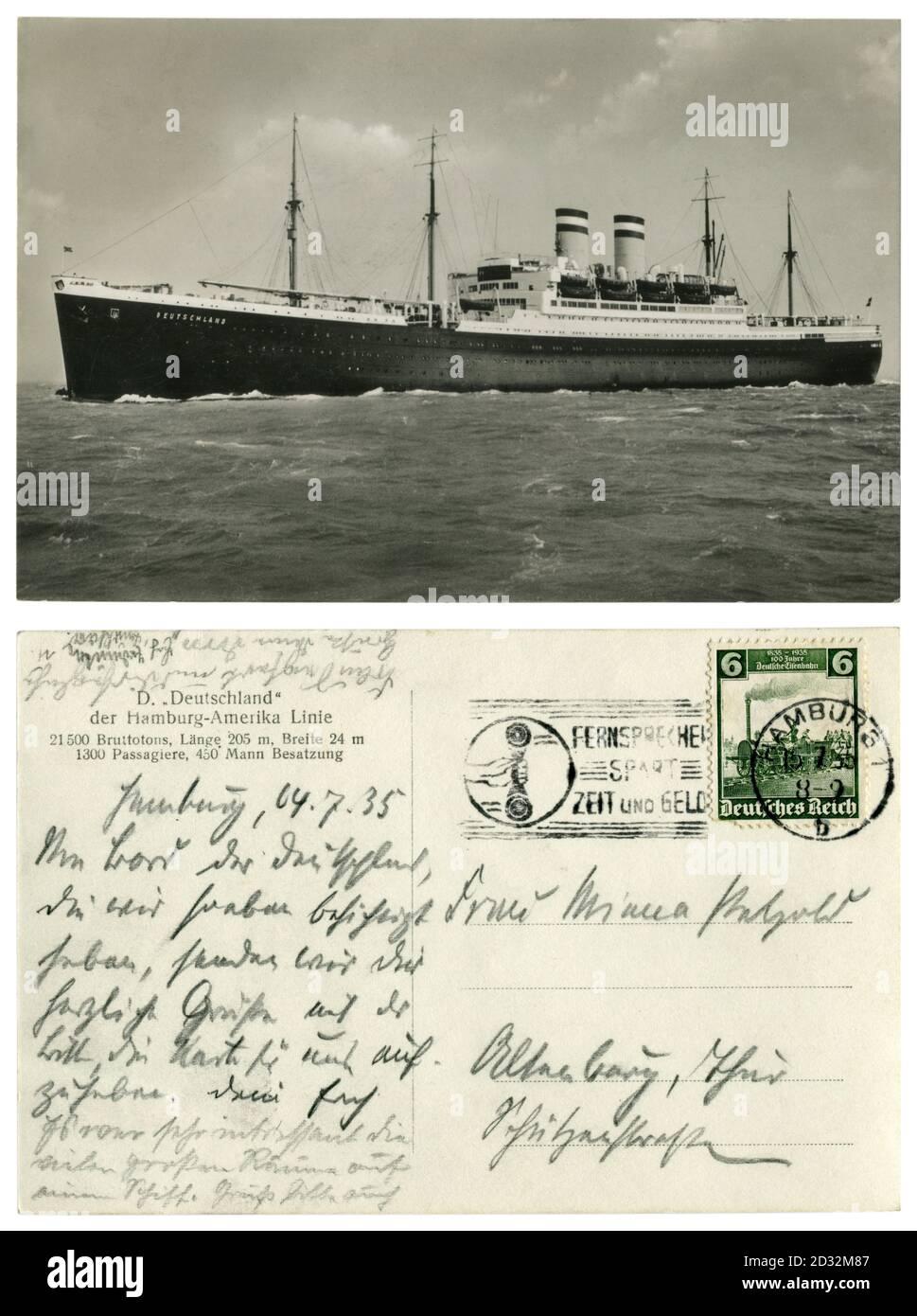 Carte postale historique allemande: ocean liner SS «Deutschland» (1923) de la ligne Hambourg-Amérique en mer. Hamburg - New York route, 1924-1940. Allemagne Banque D'Images