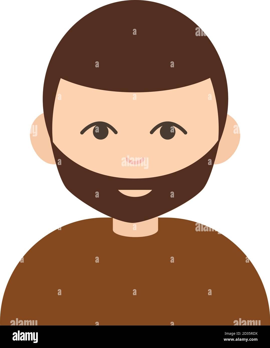 jeune barbu mec portrait dessin animé plat icône illustration vectorielle Illustration de Vecteur