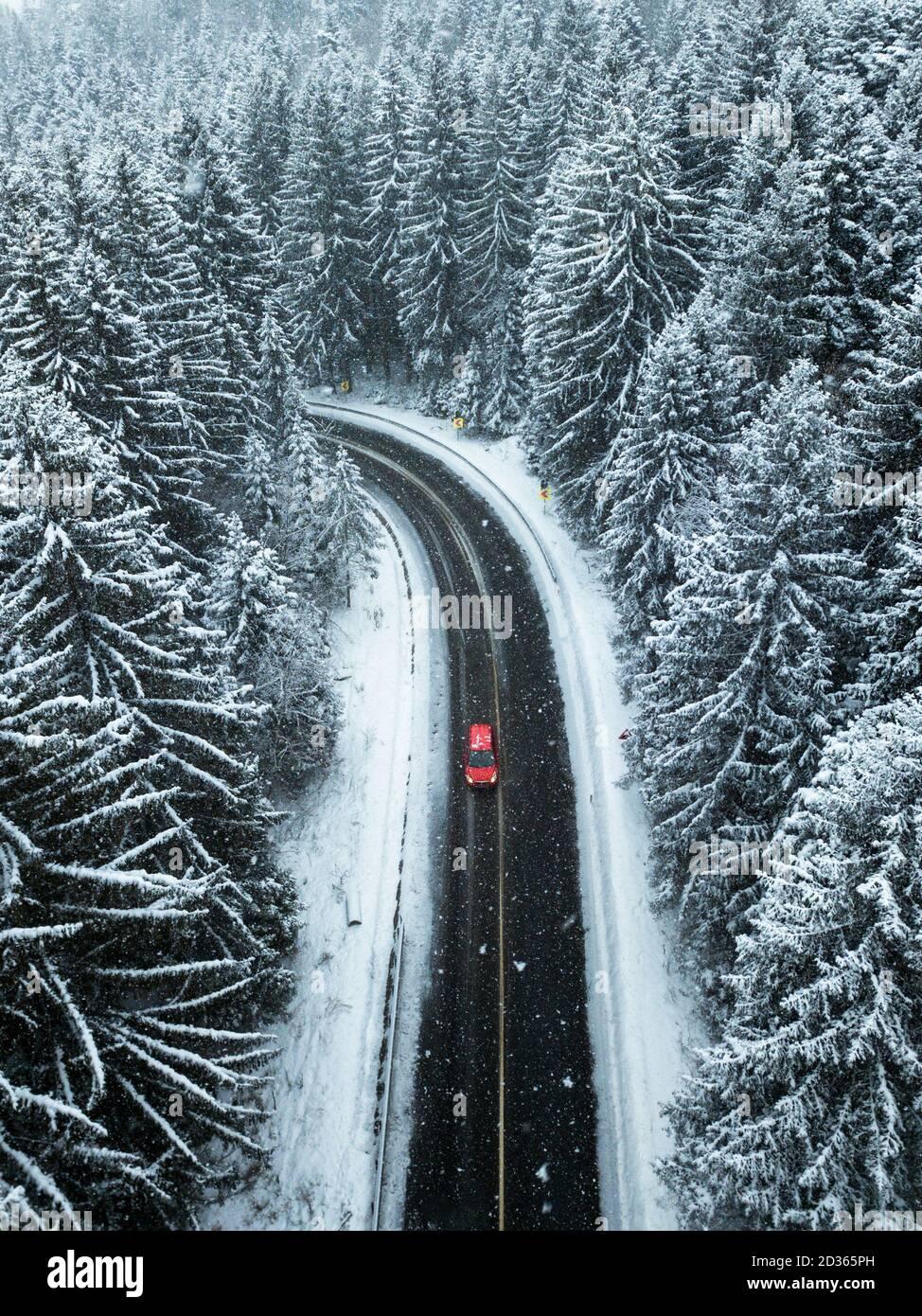 Vue aérienne de la forêt enneigée.UNE voiture rouge passant entre les arbres sur la route asphaltée. Concept de voyage nature. Banque D'Images