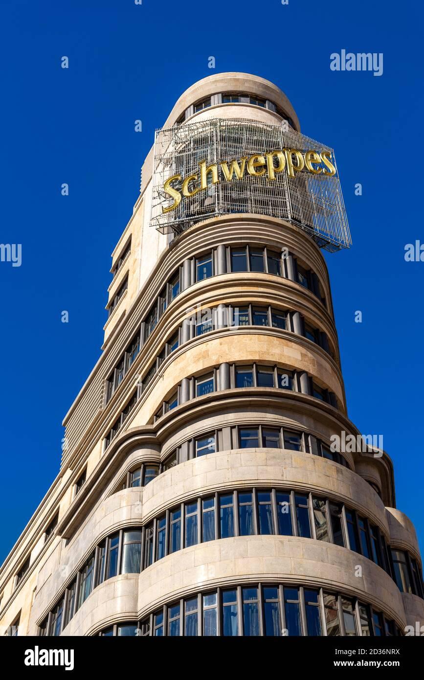 Bâtiment Schweppes ou Edificio Carrion sur Gran via, Madrid, Espagne Banque D'Images