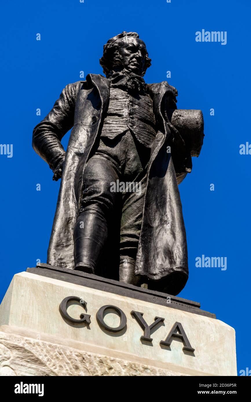 Statue de Goya à l'extérieur du musée du Prado, Madrid, Espagne Banque D'Images
