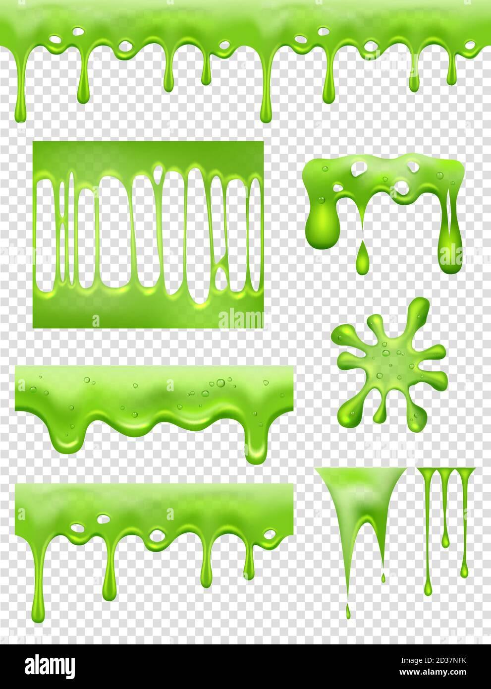 Lime. Green Glue tremper et couler des gouttes de liquide et des éclaboussures toxiques images vectorielles Illustration de Vecteur