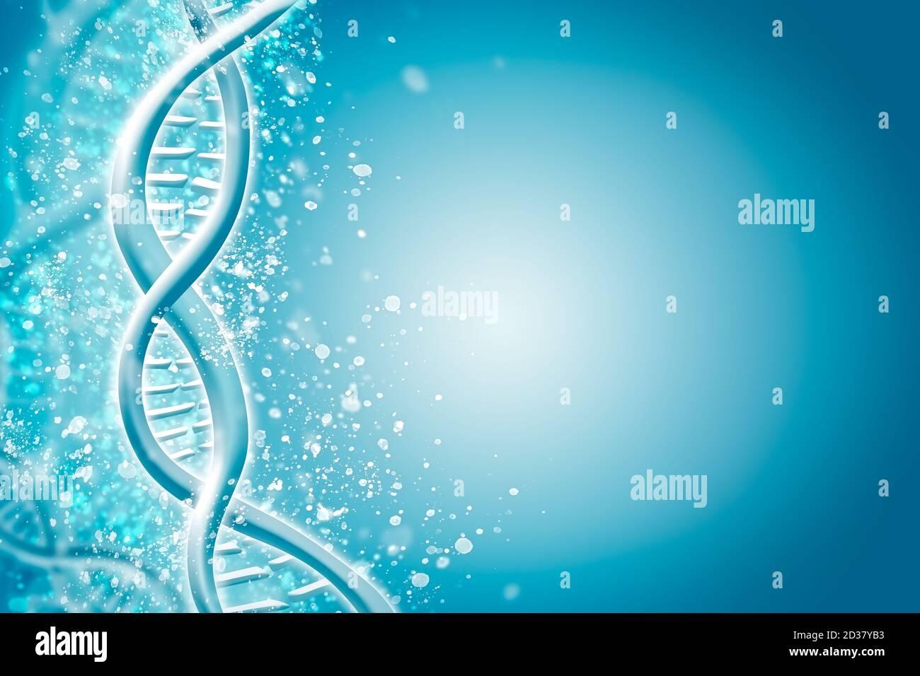Double Helix DNA Chain Brilliant. Concept de la science, de la médecine et de la recherche Banque D'Images