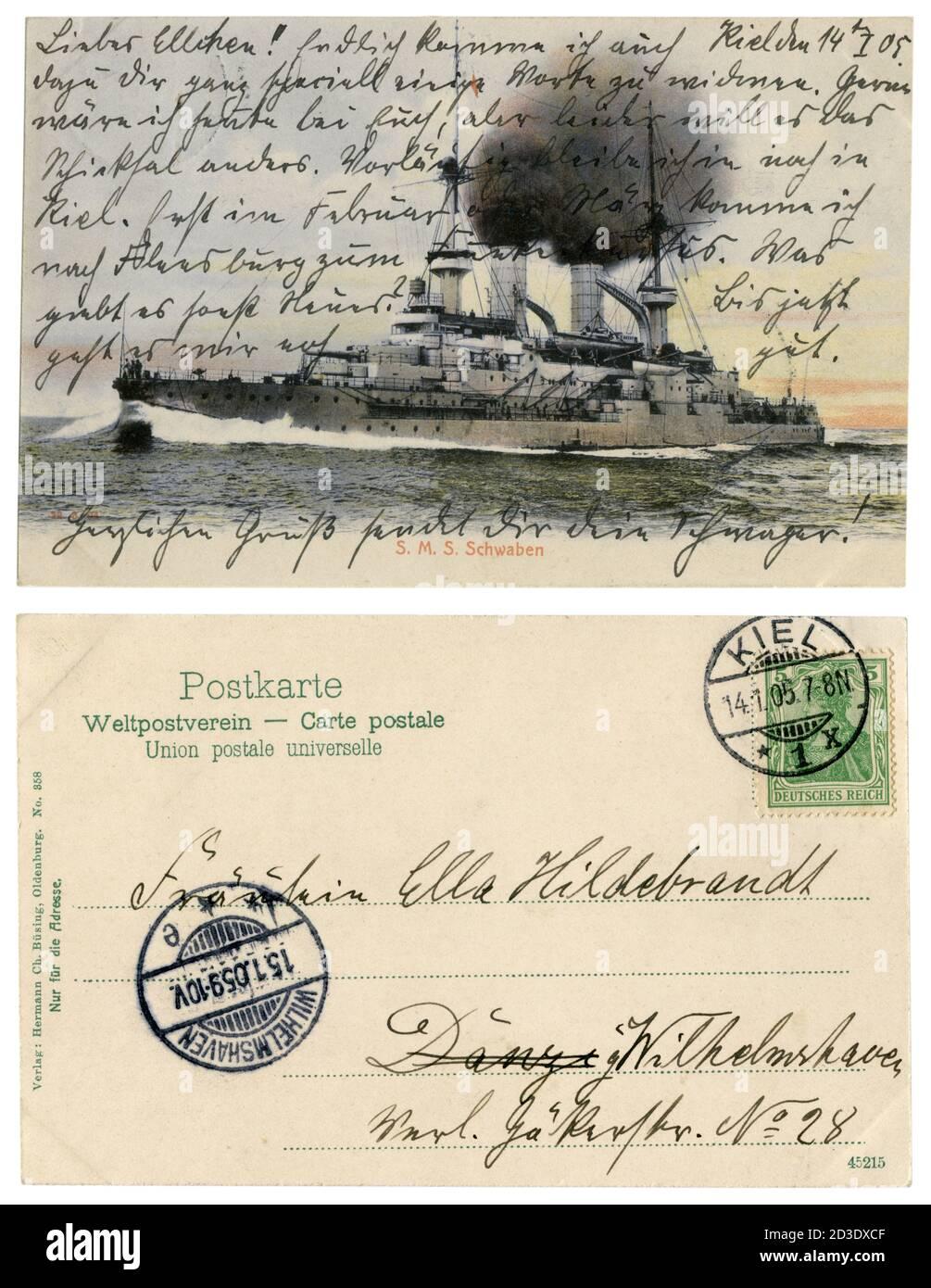 Carte postale historique allemande : SMS Schwaben (1901) quatrième navire de la classe Wittelsbach des leships de la Marine impériale allemande. 1905 Banque D'Images