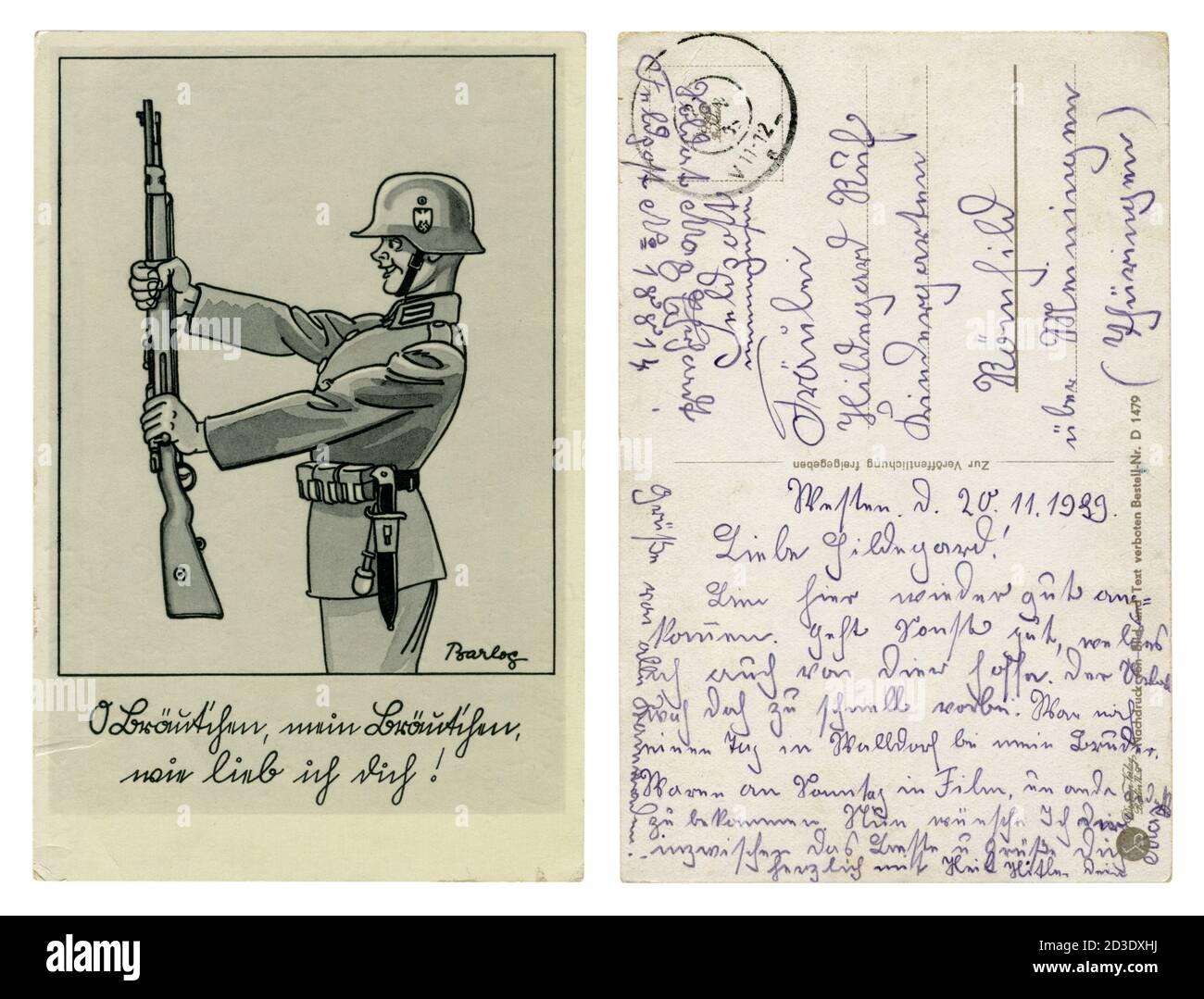 Carte postale historique allemande : soldat Wehrmacht souriant, avec un Karabiner 98k en équipement complet, casque d'acier, série satirique, artiste Barlog, Allemagne, 1939 Banque D'Images