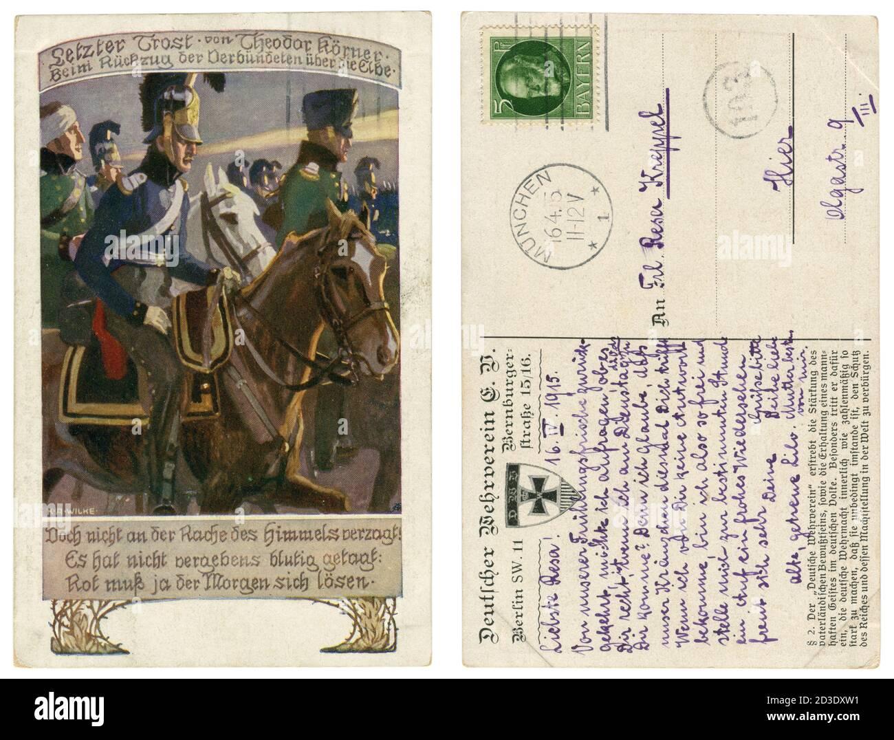 Carte postale historique allemande : soldat et poète Theodor Körner, W un groupe de cavalrymen avant sa dernière bataille à l'Elbe, guerres napoléoniennes, 1813 Banque D'Images