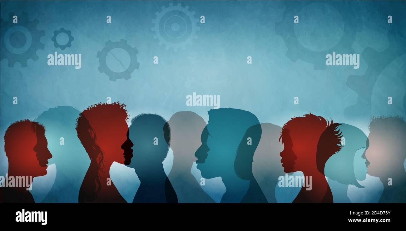 Groupe de diversité de la société communautaire personnes multiculturelles et multiethniques. Organisation de coopération en travail d'équipe Et collaboration concept.Friends.partager l'idée Banque D'Images