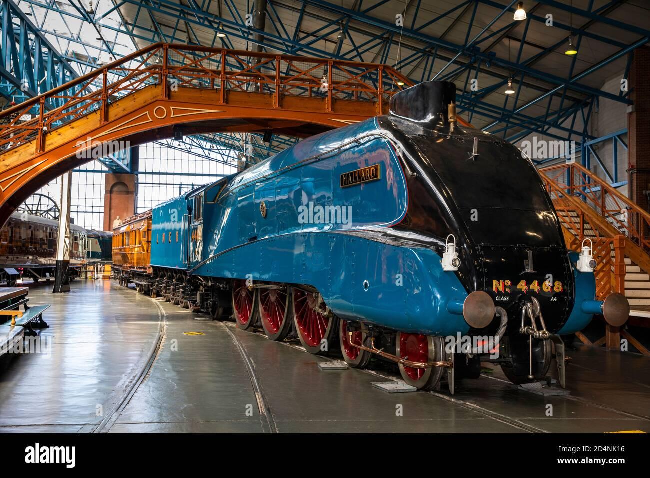 Royaume-Uni, Angleterre, Yorkshire, York, National Railway Museum, Mallard, locomotive de classe A4, détenteur du record mondial de vitesse 1938 mph Banque D'Images