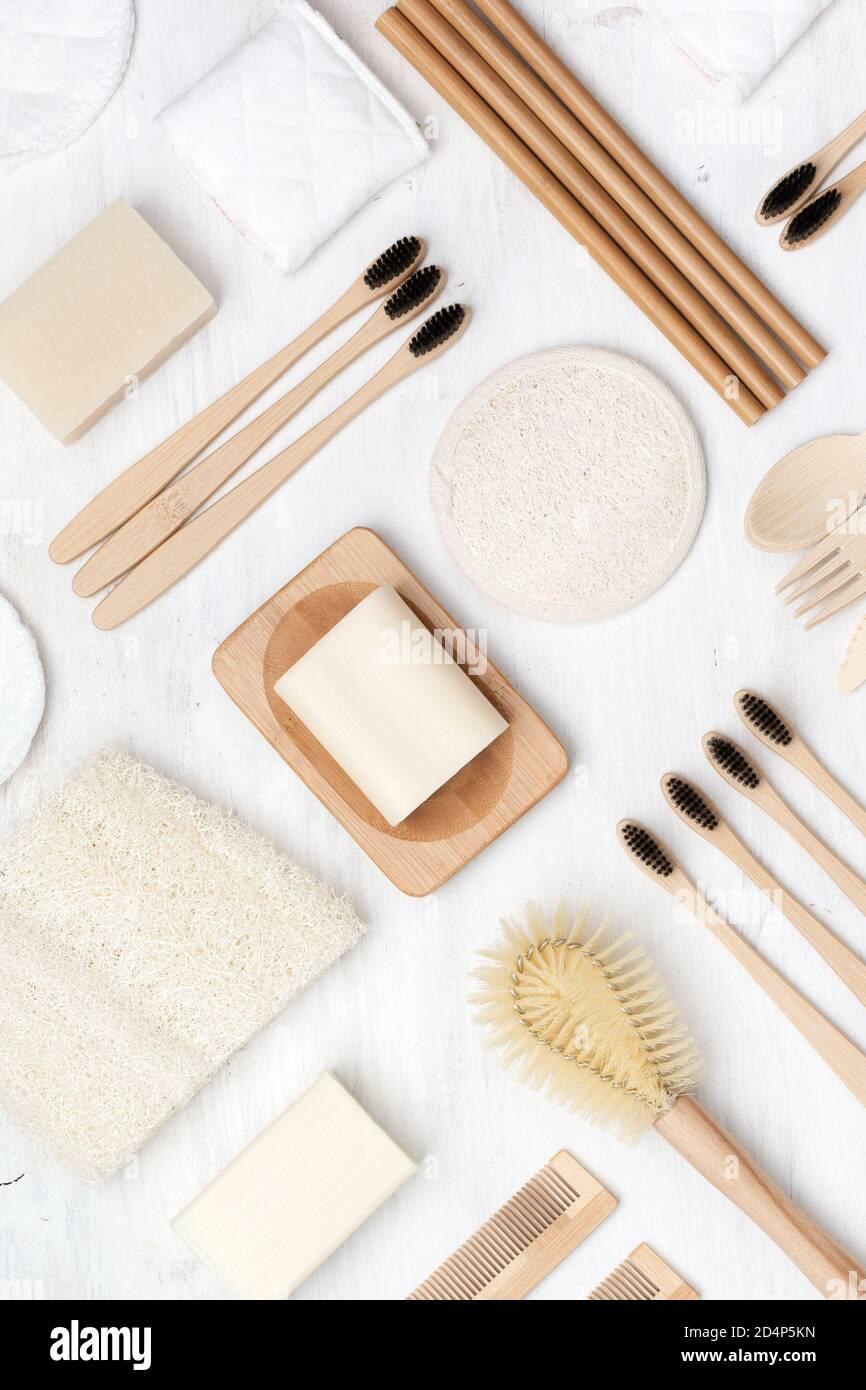 Concept zéro déchet produits d'auto-soin naturels Banque D'Images