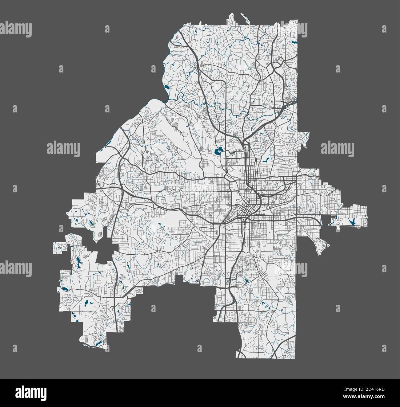 Carte d'Atlanta. Carte vectorielle détaillée de la zone administrative de la ville d'Atlanta. Affiche avec rues et eau sur fond gris. Illustration de Vecteur