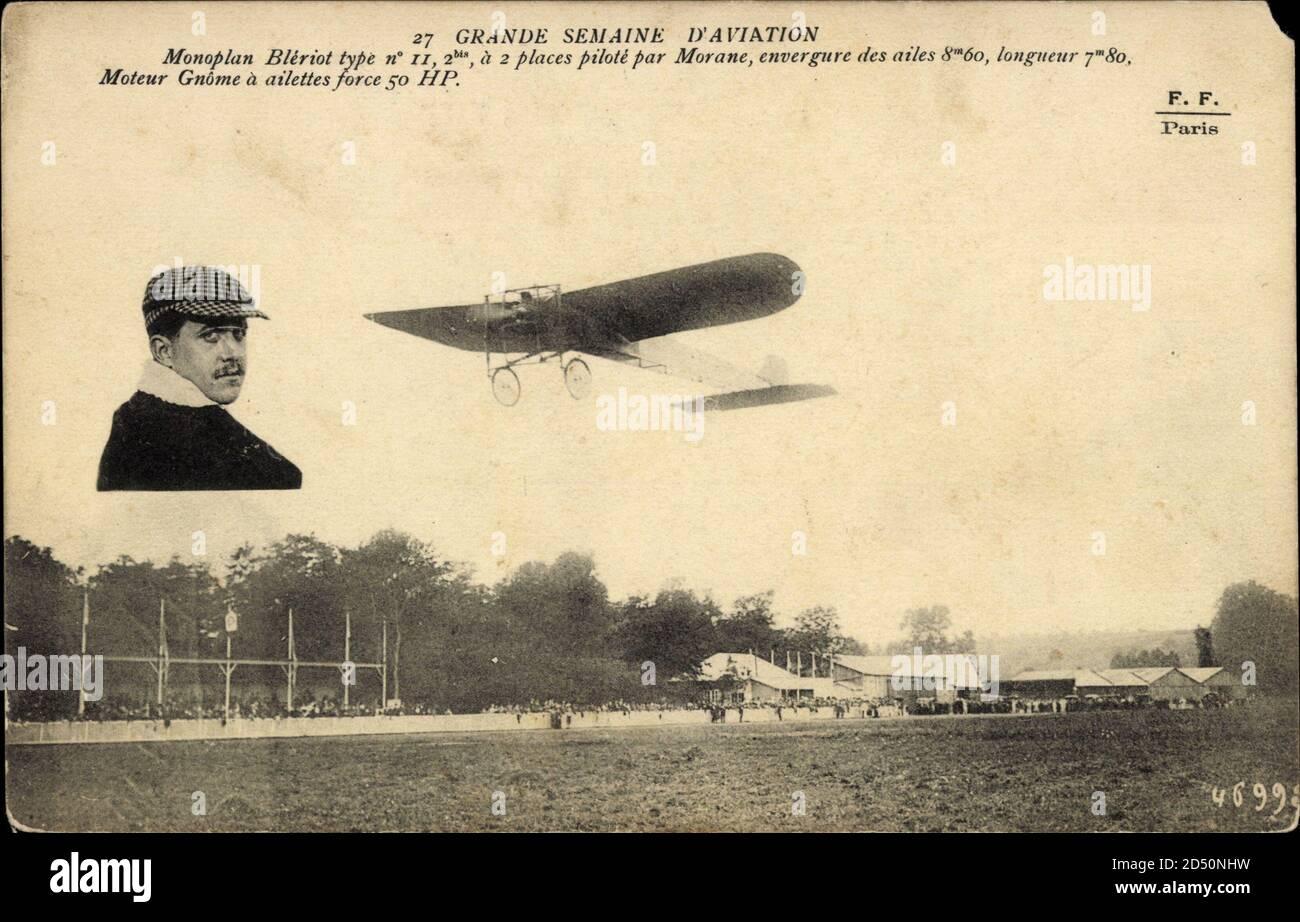 Monoplan Blériot type no 11, 2bis, à 2 places piloté par Morane, Moteur Gnome | usage dans le monde entier Banque D'Images