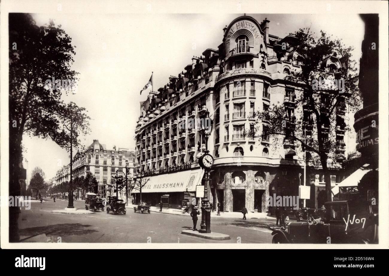 Paris, en Flanant, Nouveau boulevard Haussmann, Royal   usage dans le monde entier Banque D'Images