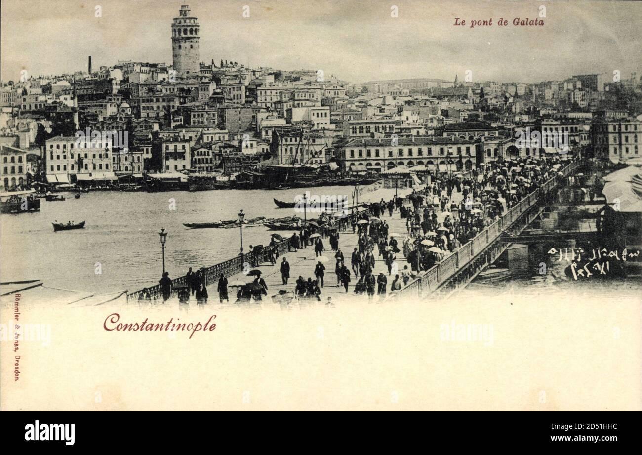Konstantinopel Türkei, le Pont de Galata, Blick auf die Promenade | utilisation dans le monde entier Banque D'Images