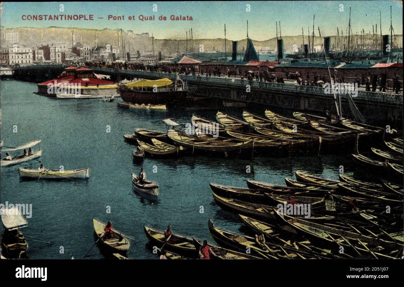 Constantinople Istanbul Türkei, Pont et Quai de Galata, Hafenpartie   utilisation dans le monde entier Banque D'Images