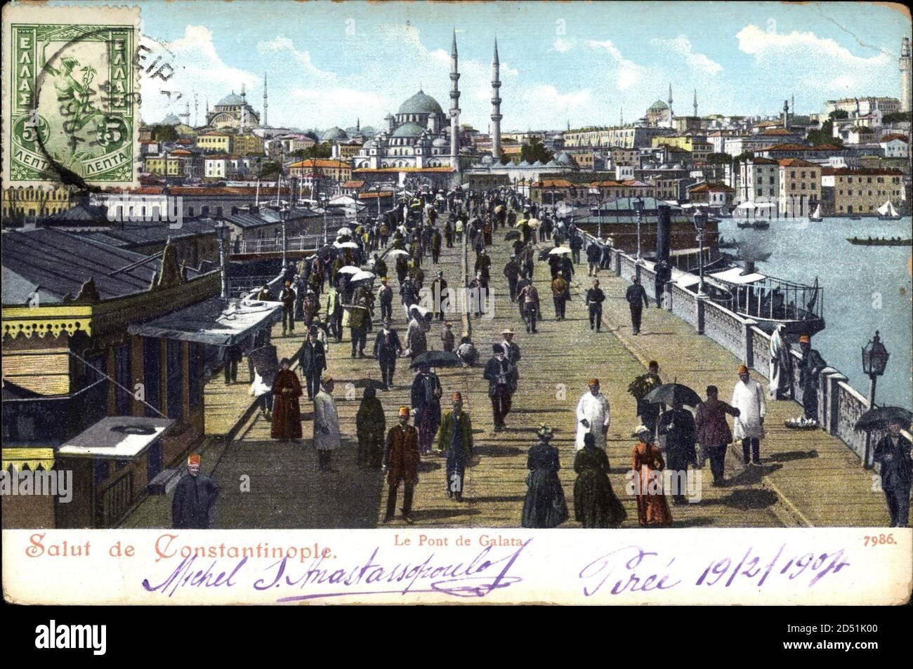 Constantinopel Istanbul Türkei, vue du Pont de Galata   utilisation dans le monde entier Banque D'Images