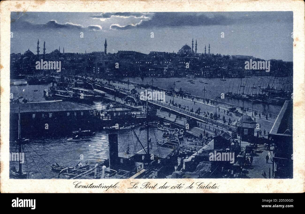 Konstantinopel Istanbul Türkei, le Pont du côte de Galata   utilisation dans le monde entier Banque D'Images