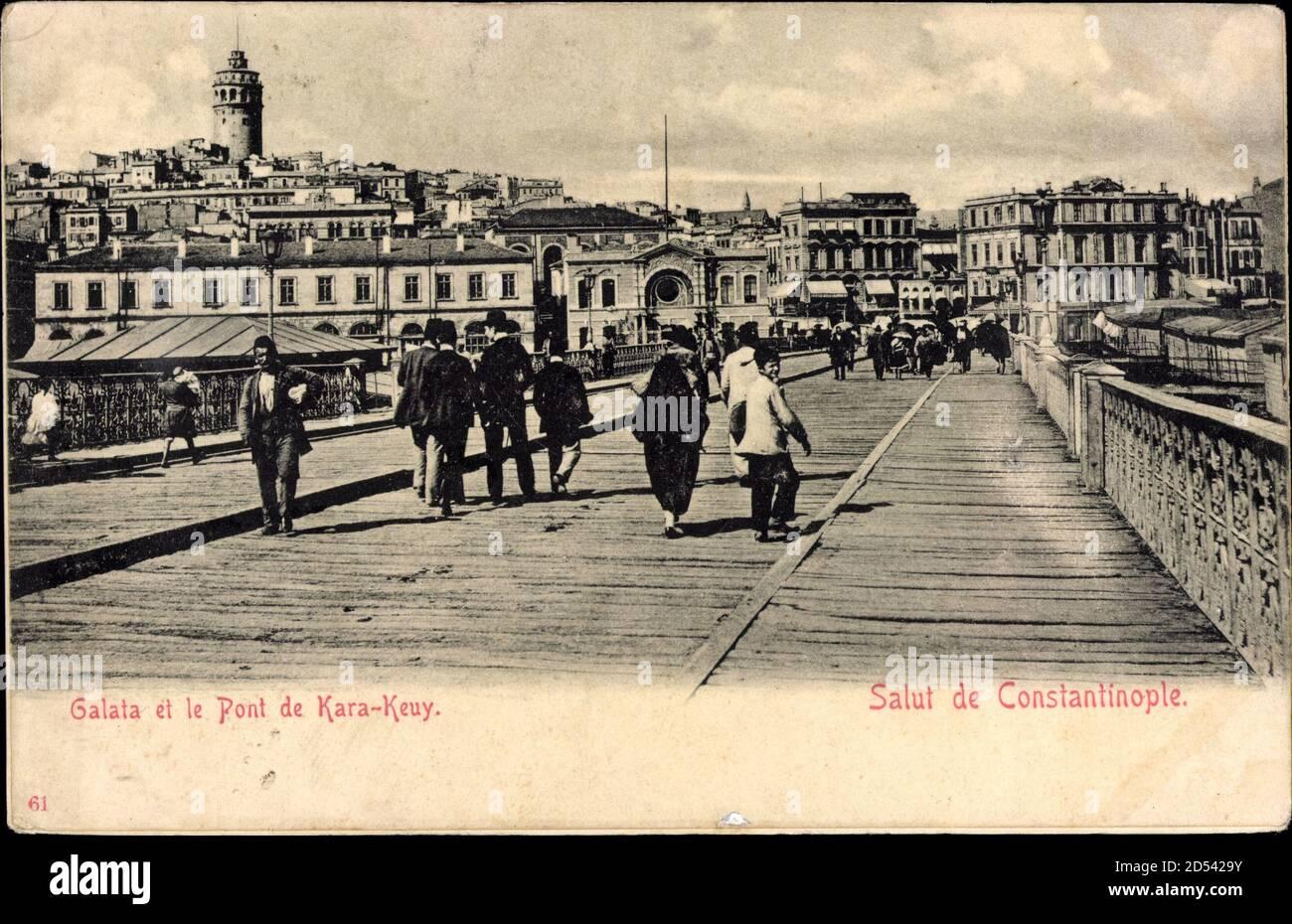 Konstantinopel Istanbul Türkei, Galata et le Pont de Kara Keuy   utilisation dans le monde entier Banque D'Images