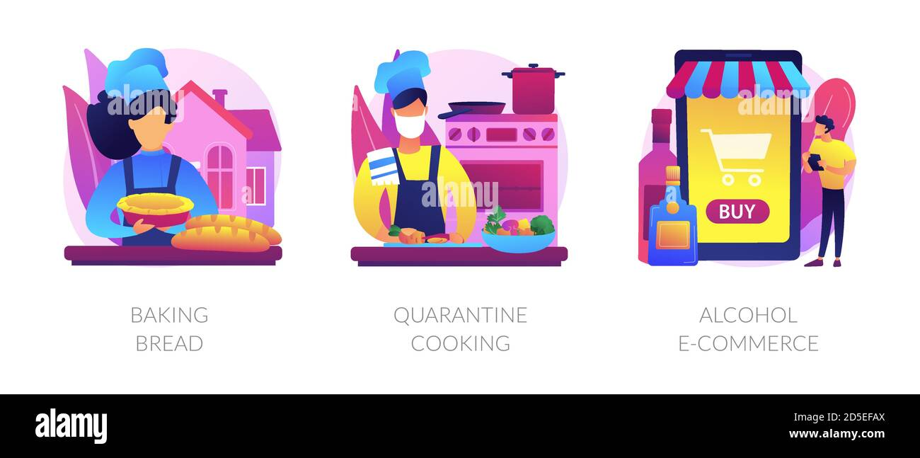 Illustrations vectorielles abstraites de la nourriture et de la livraison maison. Illustration de Vecteur